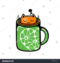 Red cat in the cup of coffee. Vector illustration. #illustration #ekapanova #cat #coffee