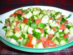 Arabic Salad from Food.com:   This is the standard Palestinian salad -- they eat it with just about anything but especially to accompany and give colour to rice dishes -- it might take a little getting used to, but you'll get used to it!