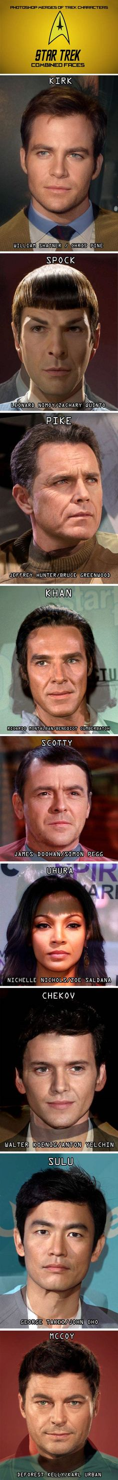 Photoshop merges: combined faces of old & new Star Trek actors ~ whoa, freaky! | William Shatner & Chris Pine blended for Captain James T. Kirk ~ Leonard Nimoy & Zachary Quinto for Spock ~ Jeffrey Hunter & Bruce Greenwood for Capt. Pike ~ Ricardo Montalbán & Benedict Cumberbatch as Khan ~ James Doohan & Simon Pegg as Scotty ~ Nichelle Nichols & Zoe Saldana as Uhura ~ Walter Koenig & Anton Yelchin as Chekov ~ George Takei & John Cho as Sulu ~ Deforest Kelly & Karl Urban as Bones McCoy