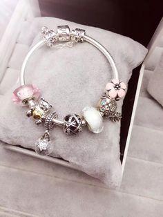 50% OFF!!! $219 Pandora Charm Bracelet Pink White. Hot Sale!!! SKU: CB01631 - PANDORA Bracelet Ideas