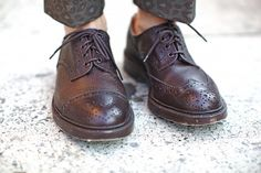 mismatched brogues by trickers