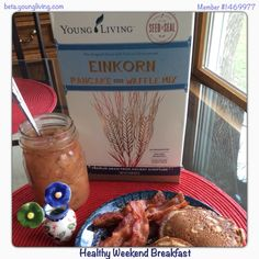 Weekend Breakfasts in our house with my home canned pears and Einkorn Pancakes!! #weekend #breakfast #einkorn #pancakes #pears #bacon #youngliving #essentialoils #natural #health #wellness #lavenderladies #triharmonyoilers #lavender #lowglyemic #healthy #nutrition #delicious