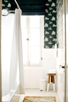 black, white bathroom, wallpaper