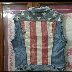 DENIM&SUPPLY Ralph Lauren American flag Jean Vest Distressed, vintage wash jean vest with the American Flag on the back.  Distressing is intentional and manufacturer made.  Vest is in excellent condition.  Tagged size is Large Ralph Lauren Jackets & Coats Vests