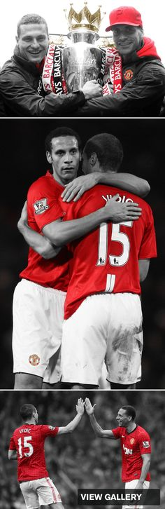 Rio Ferdinand and Nemanja Vidic Football Drills, Football Icon, Official Manchester United Website, Manchester United Football, Rio Ferdinand, Sir Alex Ferguson, Premier League Champions, United We Stand, Man United