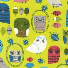 Critter Community Owls From Robert Kaufman - fabric
