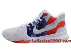 check out 32bc4 abb71 Nike Kyrie 3 ID Chaussures de BasketBall Pas Cher Pour Homme Blanc Rouge  Bleu