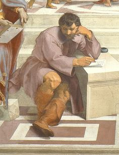 Heraclitus (with the face and in the style of Michelangelo) sits apart from the other philosophers in Raphael's 'School of Athens.'
