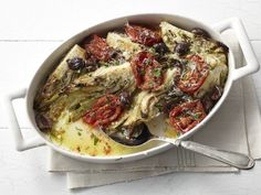 Roasted Fennel with Charred Tomatoes, Olives, and Pecorino