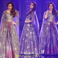 Kareena Kapoor in Silver Dazzling lehenga designed by Manish Malhotra in Lakme Fashion Week 2014