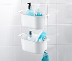 Two layer plastic hanging shower bath basket shampoo holder washing shower bask Wire Shelving, Adjustable Shelving, Pretty Shower Curtains, Grey Wood Tile, Adams Furniture, Shower Basket, Shower Enclosure, Small Bathroom, Bathroom Ideas
