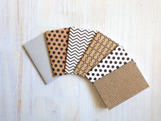 Notebooks: Small Notebooks, Christmas, Stocking Stuffer, Black, White, Brown, Mini Journals, Christmas Party Favors, 6 Tiny Journals Set