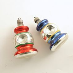 Vintage Glass Christmas Ornaments Indents Lanterns.