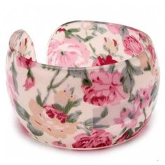 Mikaela's Pink Floral Print Shabby Chic Bracelet ($17) ❤ liked on Polyvore featuring jewelry, bracelets, accessories, pink, pulseras, special occasion jewelry, pink jewelry, pink bangles, cocktail jewelry and vintage style jewelry
