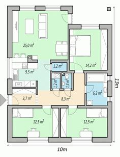 projekty domov - projekt domu bungalov FLIP Cabin House Plans, Simple House Plans, House Layout Plans, House Layouts, House Floor Plans, Cabin Homes, Log Homes, Casas Containers, Apartment Floor Plans
