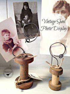 Vintage Spool Photo Display www.homeroad.net