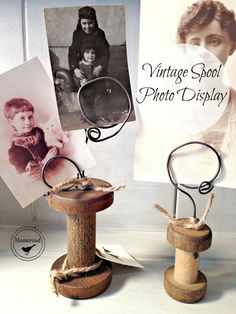 Vintage Spool Photo Display www.homeroad.net