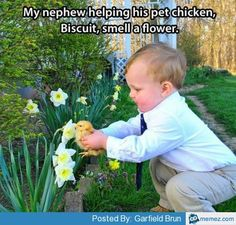 Cute baby with a pet chicken | Memes.com