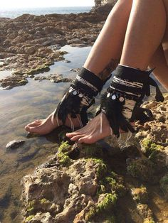 Feathers Boho PAIR of shoes & ankle cuffs / Gypsy Hippie