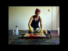 Abstracte achtegrond maken met vloeibare acrylverf, snel. Eline Ulaen Art Painting Tutorials, Acrylic Art, Youtube, Painting Abstract, Pintura