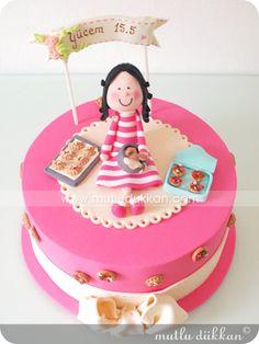Pasta – 3 Boyutlu Tasarım | Mutlu Dükkan - Butik Kurabiye, Cupcake ve Pastalar Baby Birthday Cakes, Cake Supplies, Pastry Art, Just Cakes, Bakery Cakes, Girl Cakes, Sugar Art, Edible Art, Fondant Cakes