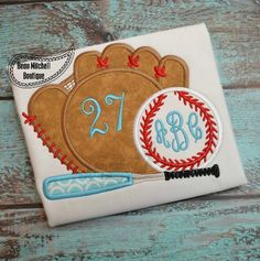 Baseball, Bat and Monogrammed Ball Appliqued Shirt or Onesie - Baseball Glove - Baseball Bat - Baseball - Personalized Baseball Shirt by RockintheTutu on Etsy Embroidery Monogram, Applique Embroidery Designs, Machine Embroidery Applique, Applique Quilts, Base Ball, Baseball Shirts, Square Quilt, Just For You, Glove