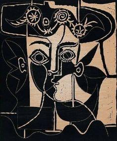 Pablo Picasso : Grand Tête de Jacqueline au Chapeau, 1962 Linoleum Cut Printed…