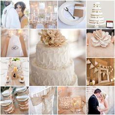 white and burlap wedding