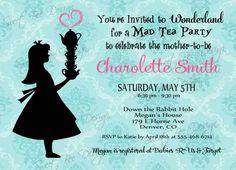Alice In Wonderland Baby Shower Invitation- Custom Printable by SweetBeeDesignShoppe on Etsy https://www.etsy.com/listing/175797994/alice-in-wonderland-baby-shower