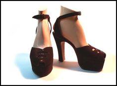 suede platforms - Courtesy of pinkyagogo Body Adornment, Platforms, 1940s, Peep Toe, Footwear, Golden Age, Heels, Fashion, Heel