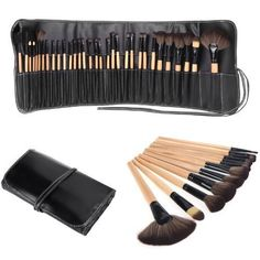 BESTOPE 32PCs Professional Makeup Brushes Synthetic Kakubi Cosmetic Mac Makeup Brush Set with Leather Traverl Pouch Bag