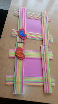 40 Repurposing Plastic Straw Crafts Ideas – Bored Art – The World Popsicle Stick Crafts, Craft Stick Crafts, Preschool Crafts, Paper Crafts, Diy For Kids, Crafts For Kids, Arts And Crafts, Plastic Straw Crafts, Picture Frame Crafts
