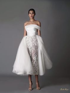 This dress with detachable multi-layer organza over skirt is a perfect choice for any bride to look fabulous AND feel comfortable during the entire reception and late night party. Bridal Outfits, Bridal Dresses, Party Dresses, Wedding Attire, Wedding Gowns, Wedding Ceremonies, Wedding Bouquets, Dress Vestidos, Beautiful Gowns