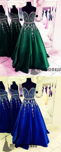 Sweetheart Long Prom Dresses Beading Evening Dresses Backless Formal Dresses,HS713 #fashion #shopping #dresses #eveningdresses #2018prom