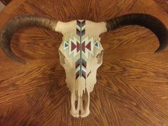 Indian Artwork Steerhead with Horns by Erica Wood on Etsy, $225.00  see this and more at www.howsheseesitecwood.etsy.com