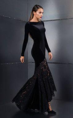 Rochie de seara lunga sirena din catifea si dantela SKA607