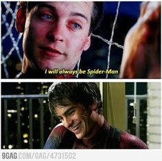 Poor Tobey Macguire...  But it's okay Andrew Garfield is fine by me. <3  Also the killed Peter Parker in the comics and replaced him with Miles Morales. Yeah.....