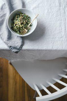 Spring Asparagus Millet Salad w/ Fresh Garlic + Lemon + Herbs