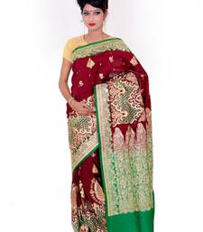Buy Dark Red and Green embroidered silk saree with blouse banarasi-silk-saree online