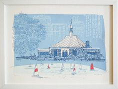 Print by Adrienne Wong of the Central Park Conservatory Water Pond, with the toy boats. Hand pulled silkscreen