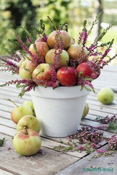 Apples and heather...great fall arrangement