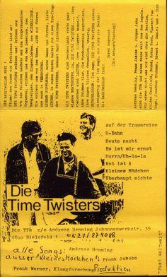 Die Time Twisters  Tonkassette, Cover 1986, Fast Weltweit  Jürgen Jahn,Andreas Henning,Frank Jacobs  Design© Andreas Henning, 1986