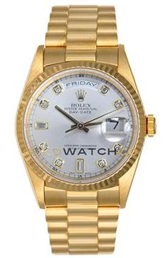Rolex Mens 18K Yellow Gold President Day Date.