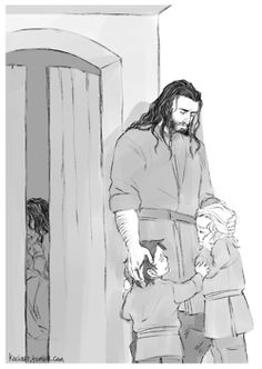 Thorin comforting Fili and Kili as their father slowly passes away from his battle wounds