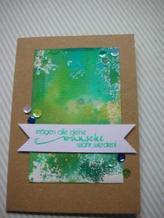 Karten für jede Gelegenheit  #watercolour #inkystamp #pailetten #leinwand #embossing #misting