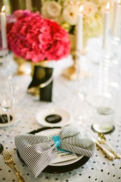 stripes, polka dots and bow tie napkins  Photography By / birdsofafeatherphoto.com, Wedding Design   Styling By / sittinginatreeevents.com, Floral Design By / greenfloralsd.com