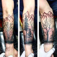 Cool Mens Mountain Forearm Tree Tattoo