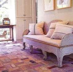 Gustavian Style - A Higher End looking Swedish style (vs Scandinavian Country Style). Neutral pillows on Gustavian bench