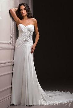 strapless sweetheart sheath chiffon wedding by Lemandyweddingdress, $208.00