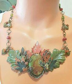 Bib necklace Leaf necklace Woodsy fall necklace Jewelry